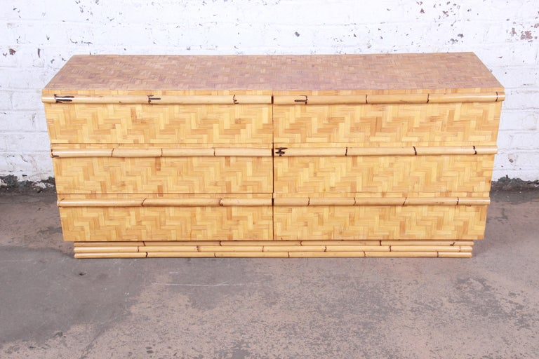 Mid-Century Modern Midcentury Hollywood Regency Chinoiserie Bamboo Parquetry Dresser or Credenza For Sale