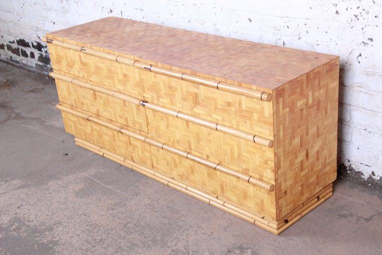 Midcentury Hollywood Regency Chinoiserie Bamboo Parquetry Dresser or Credenza In Good Condition For Sale In South Bend, IN