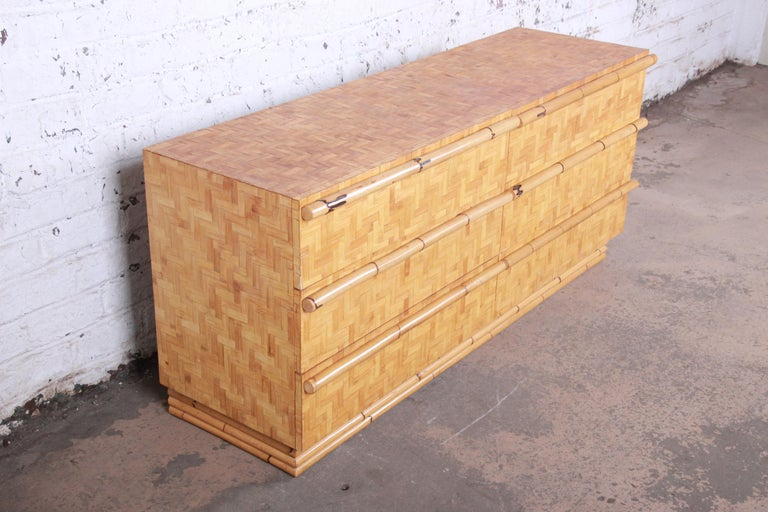 20th Century Midcentury Hollywood Regency Chinoiserie Bamboo Parquetry Dresser or Credenza For Sale
