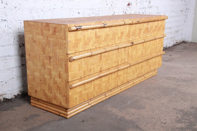 Midcentury Hollywood Regency Chinoiserie Bamboo Parquetry Dresser or Credenza For Sale 1