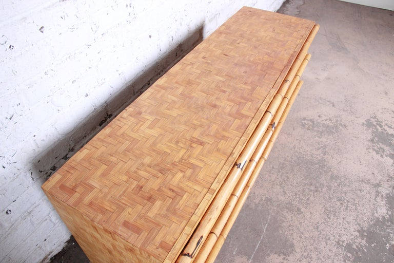 Midcentury Hollywood Regency Chinoiserie Bamboo Parquetry Dresser or Credenza For Sale 3