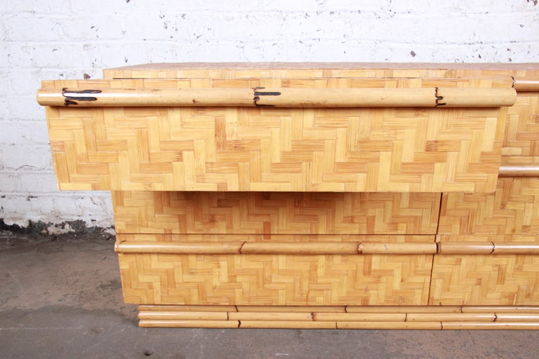 Midcentury Hollywood Regency Chinoiserie Bamboo Parquetry Dresser or Credenza For Sale 4