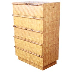 Midcentury Hollywood Regency Chinoiserie Bamboo Parquetry Highboy Dresser