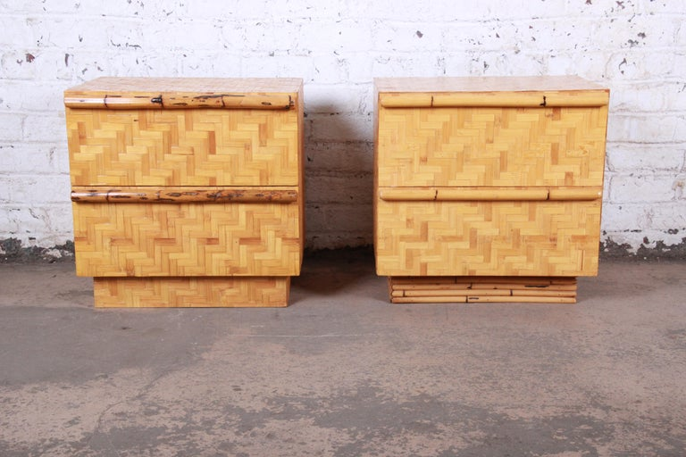 Mid-Century Modern Midcentury Hollywood Regency Chinoiserie Bamboo Parquetry Nightstands, Pair For Sale