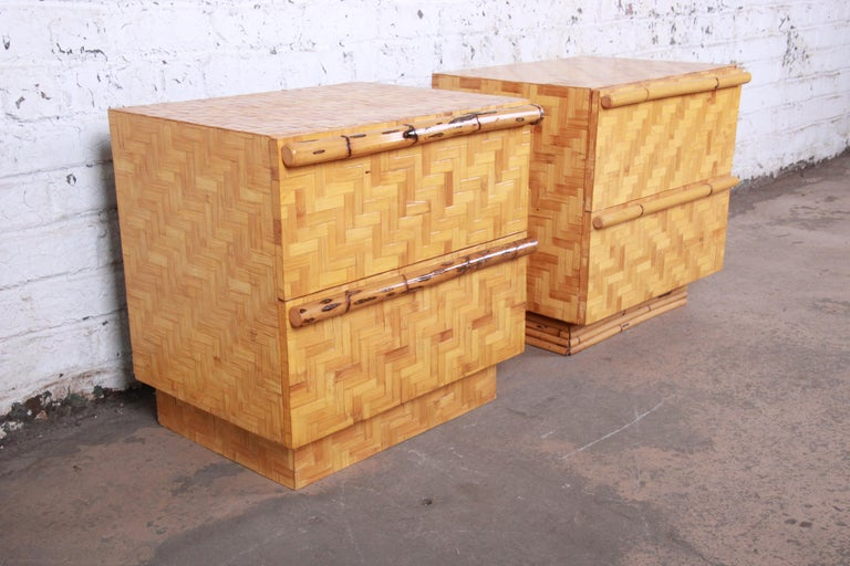 20th Century Midcentury Hollywood Regency Chinoiserie Bamboo Parquetry Nightstands, Pair For Sale