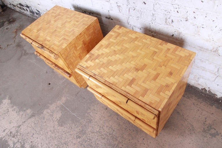Midcentury Hollywood Regency Chinoiserie Bamboo Parquetry Nightstands, Pair For Sale 2