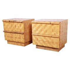 Midcentury Hollywood Regency Chinoiserie Bamboo Parquetry Nightstands, Pair