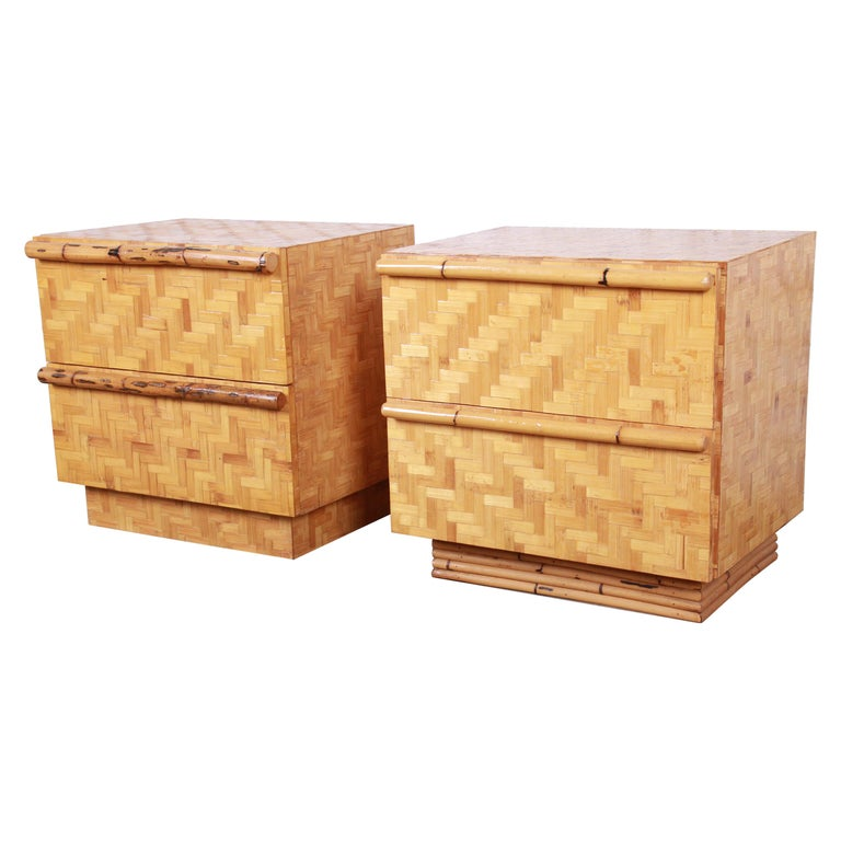 Midcentury Hollywood Regency Chinoiserie Bamboo Parquetry Nightstands, Pair For Sale