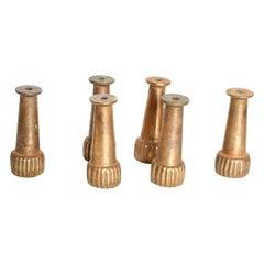 Midcentury Hollywood Regency Italian Brass Sabot Legs Set of 6