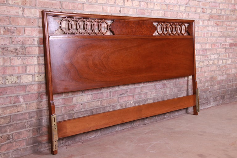 American Midcentury Hollywood Regency Walnut and Burl Wood King Size Headboard For Sale