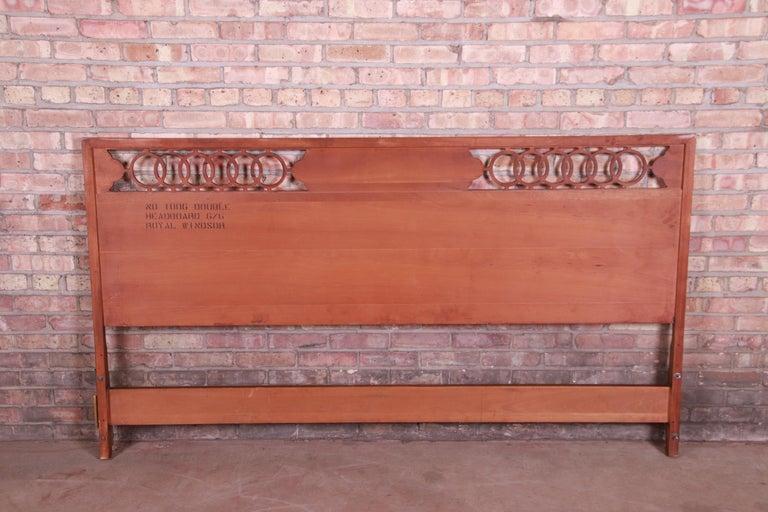 Midcentury Hollywood Regency Walnut and Burl Wood King Size Headboard For Sale 1