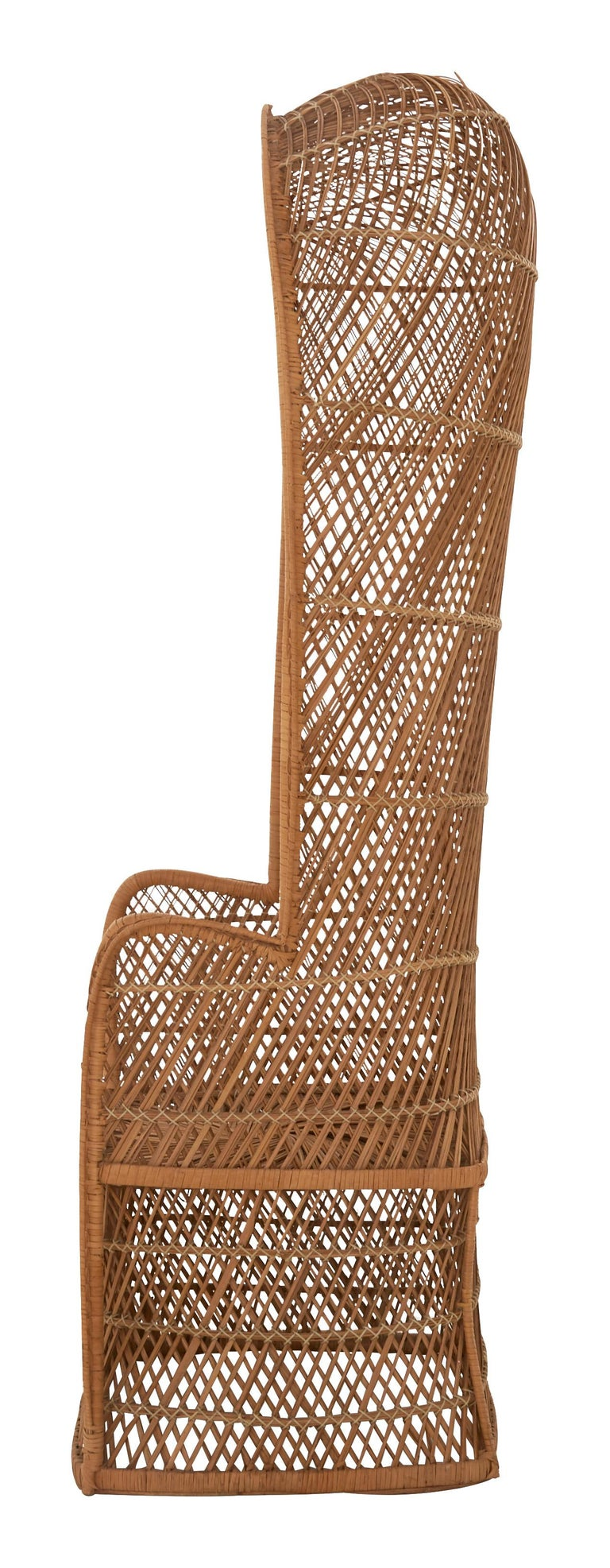 •Hooded, canopy style, weathered rattan chair •Mid-20th century •American •Measures: 25.25