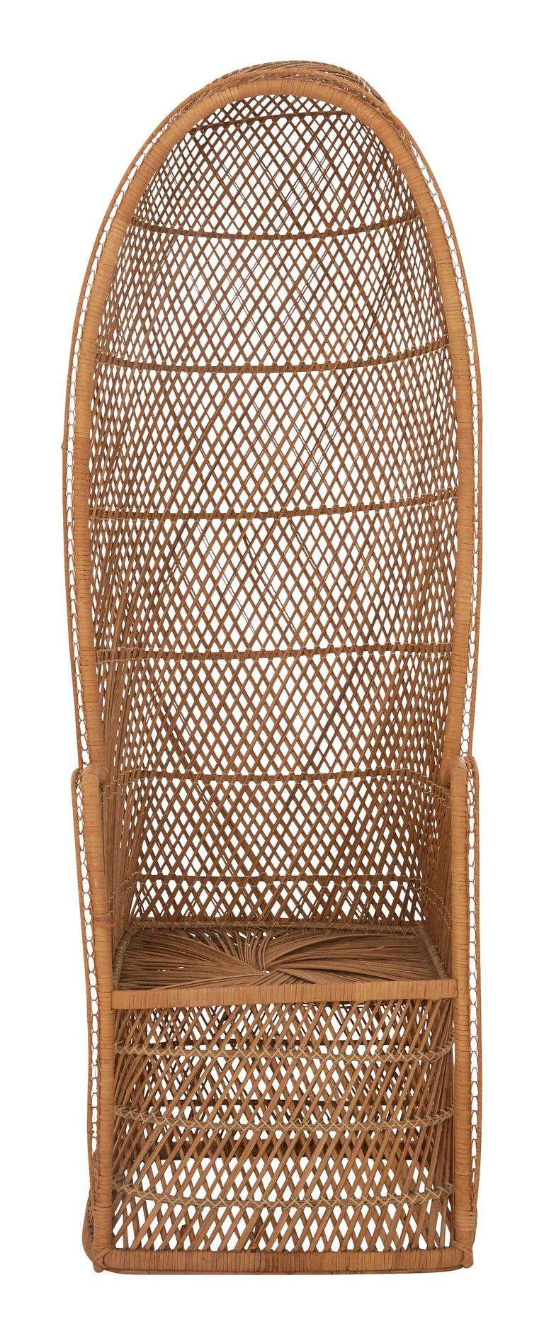 Mid-Century Modern Midcentury Hooded Rattan Armchair For Sale