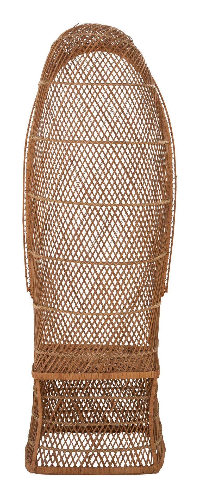 American Midcentury Hooded Rattan Armchair For Sale