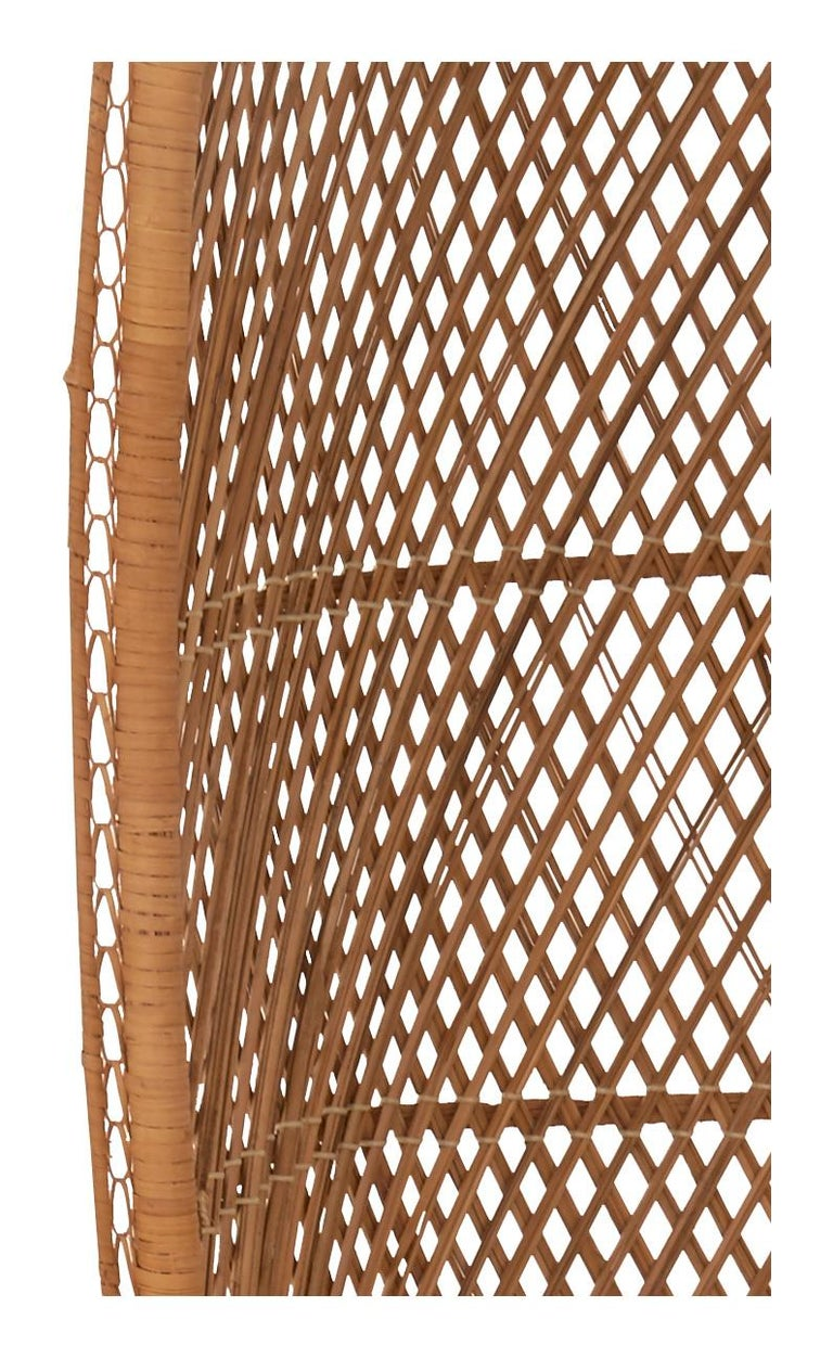 Midcentury Hooded Rattan Armchair In Good Condition For Sale In Chicago, IL