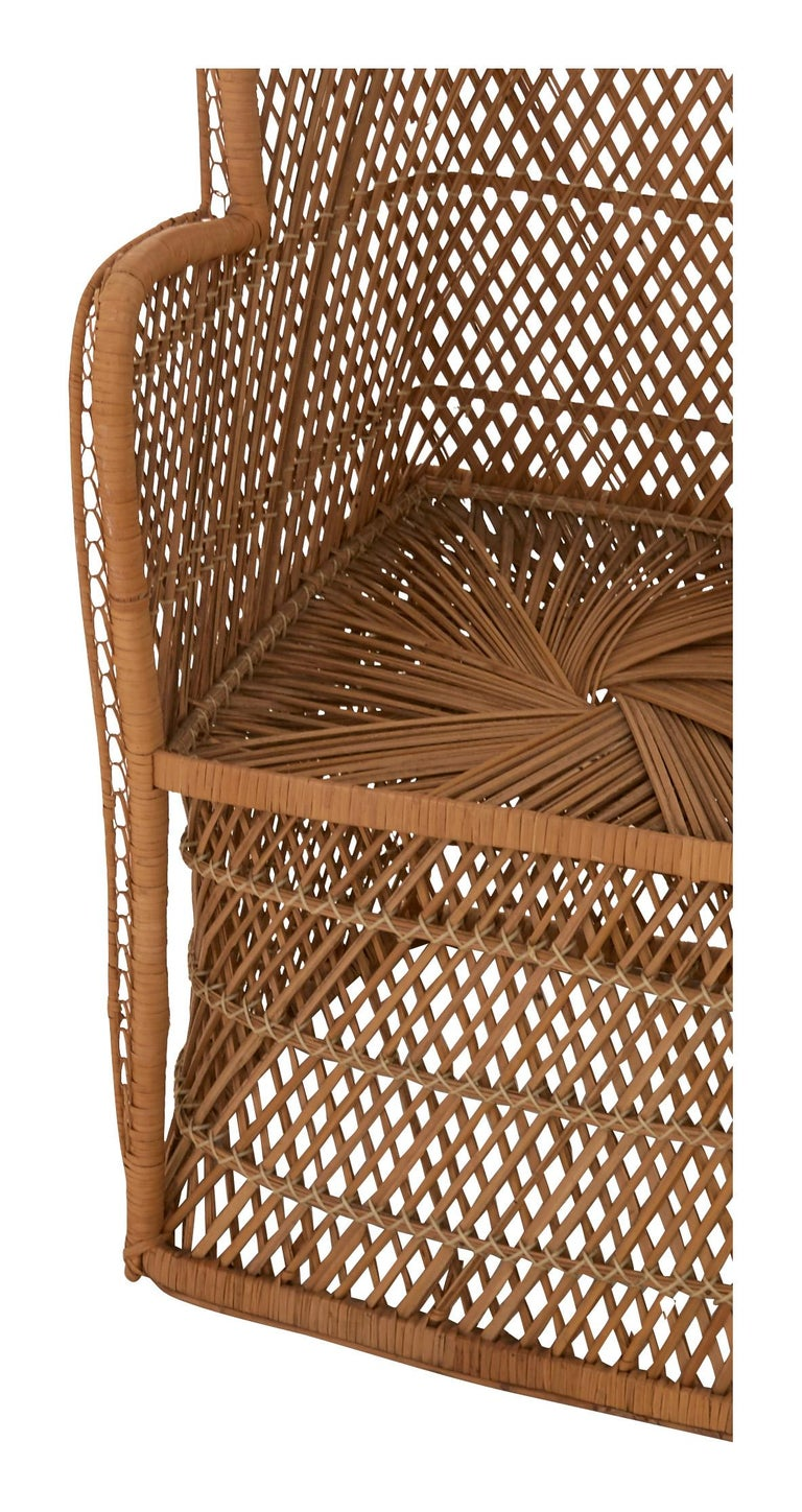 20th Century Midcentury Hooded Rattan Armchair For Sale