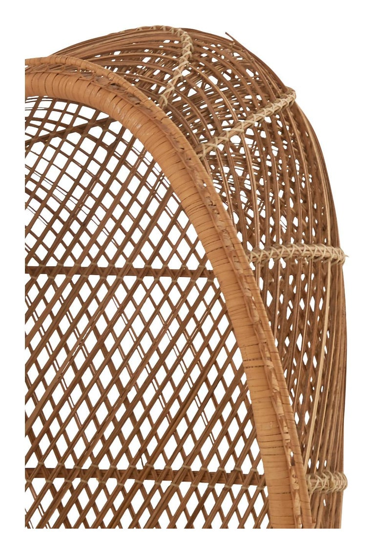 Midcentury Hooded Rattan Armchair For Sale 1