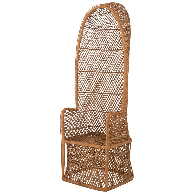 Midcentury Hooded Rattan Armchair For Sale