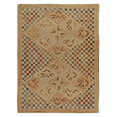 Midcentury Hooked Checkered Warm Beige, Red and Blue Handwoven Wool Rug