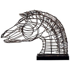 Mid Century Horse Bust Open Work Iron Sculpture