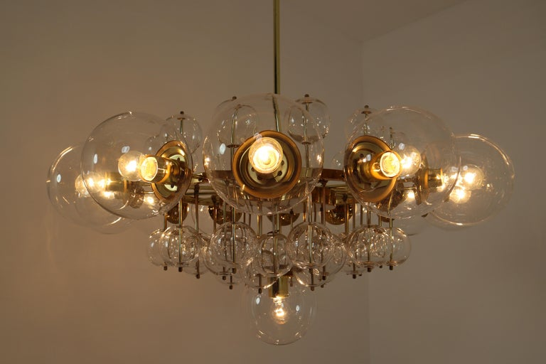 Mid-Century Modern Midcentury Hotel Chandelier with Brass Fixture and Hand-Blowed Glass Globes For Sale