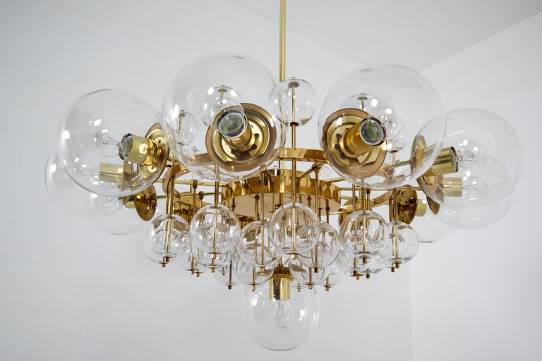 European Midcentury Hotel Chandelier with Brass Fixture and Hand-Blowed Glass Globes For Sale