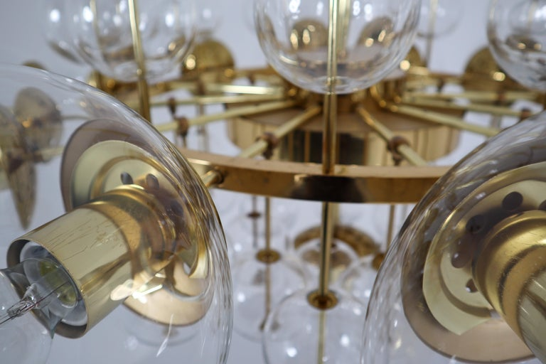 Mid-20th Century Midcentury Hotel Chandelier with Brass Fixture and Hand-Blowed Glass Globes For Sale
