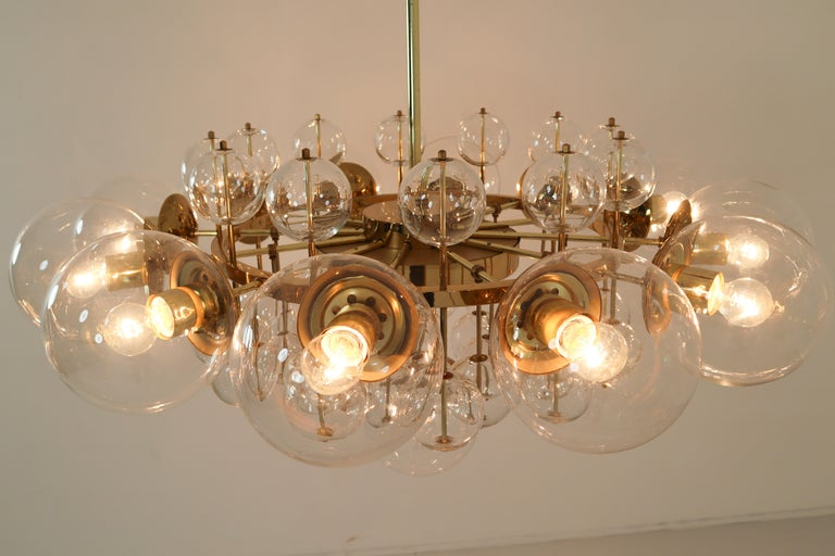 Midcentury Hotel Chandelier with Brass Fixture and Hand-Blowed Glass Globes For Sale 2