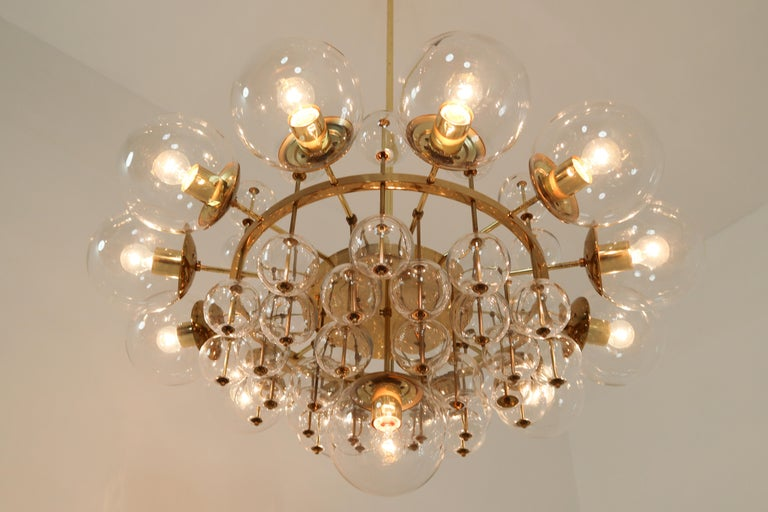 Midcentury Hotel Chandelier with Brass Fixture and Hand-Blowed Glass Globes For Sale 3