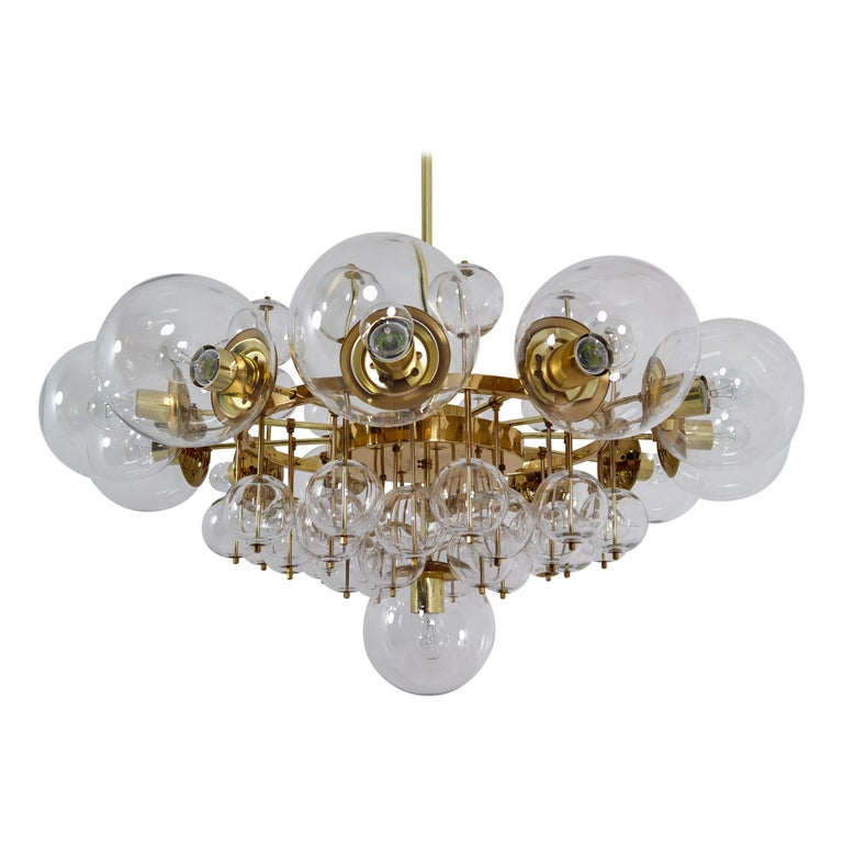 Midcentury Hotel Chandelier with Brass Fixture and Hand-Blowed Glass Globes For Sale