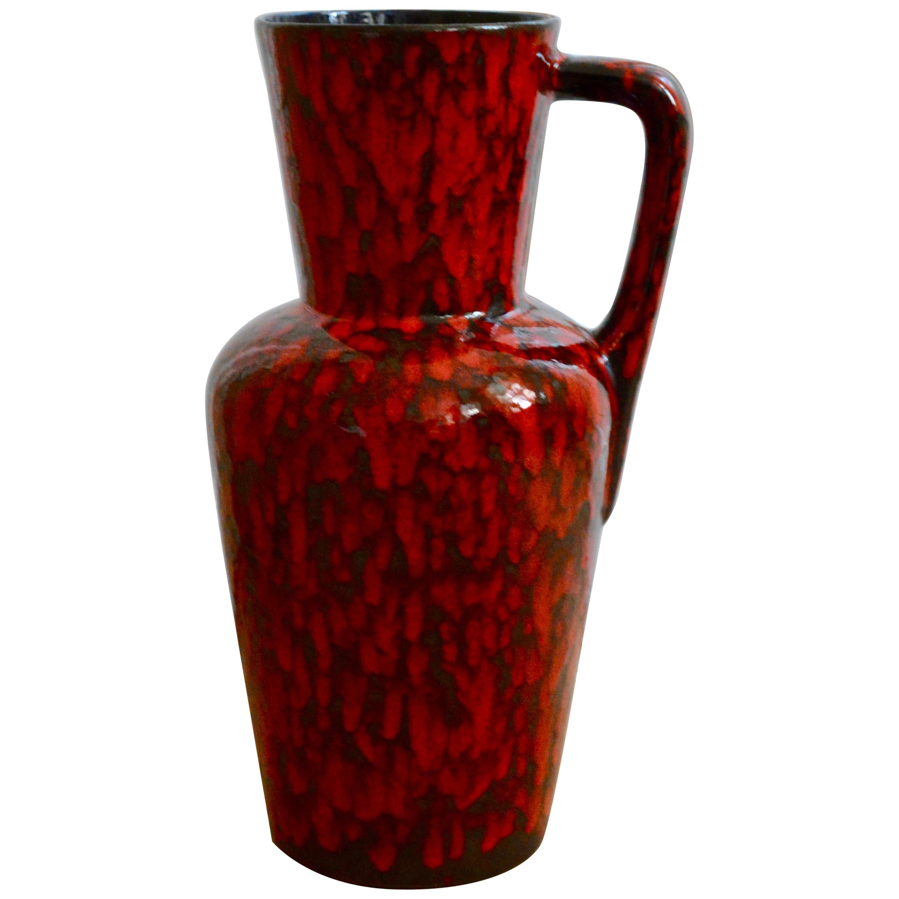 Midcentury Huge Red Lava Glazed Floor Vase