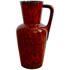 Midcentury Huge Red Lava Glazed Floor Vase