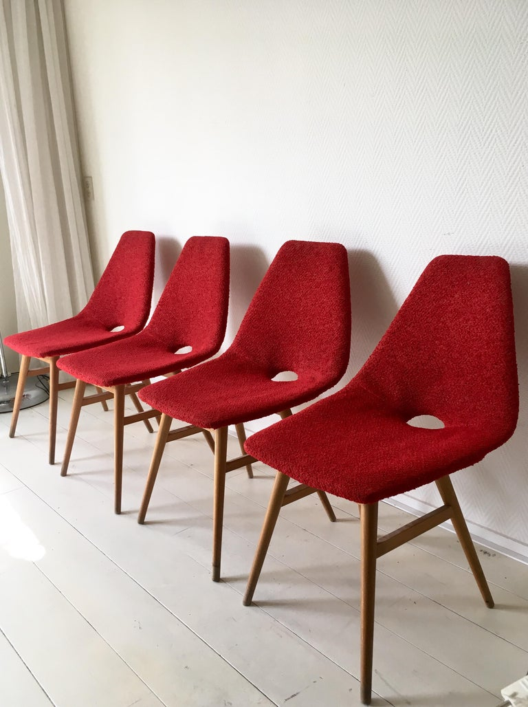 Mid-Century Modern Midcentury Hungarian Chairs, Side Chairs by Judit Burian and Erika Szek, 1950s For Sale