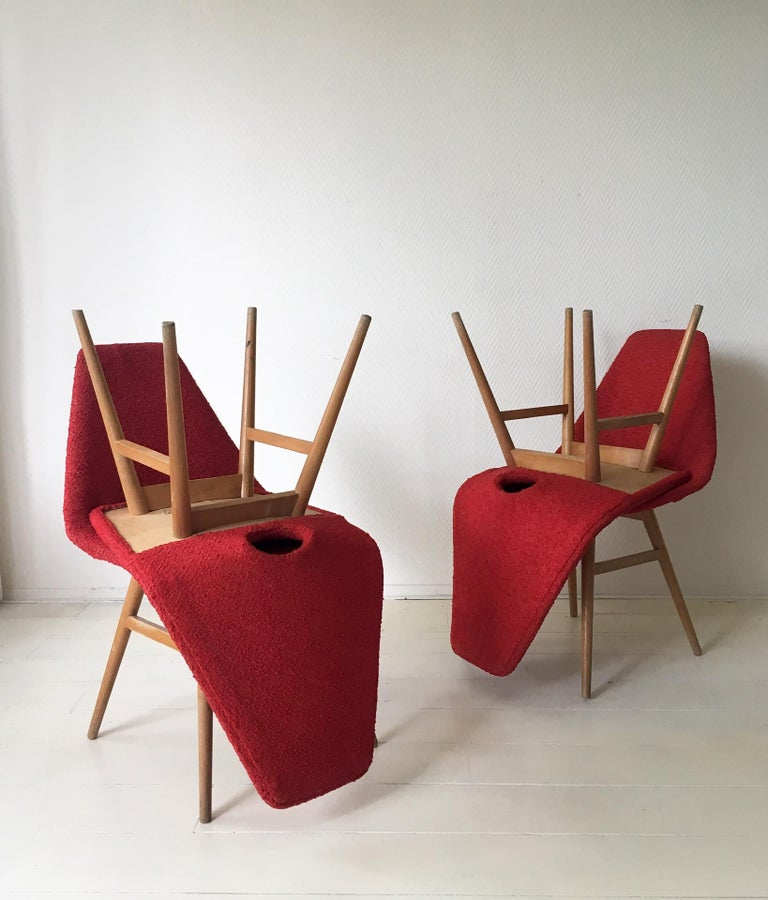 Midcentury Hungarian Chairs, Side Chairs by Judit Burian and Erika Szek, 1950s For Sale 3