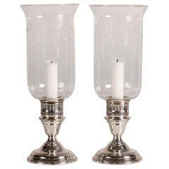Midcentury Hurricane Candlesticks of Sterling Silver and Glass with Decoration