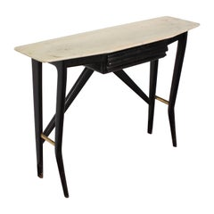 Midcentury Ico Parisi style Black Wood Console Marble and Brass, Italy, 1950s