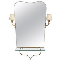 Midcentury Illuminated Mirror Console, Italy