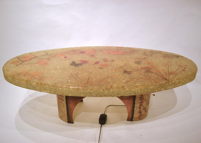 Midcentury Illuminated Resin Coffee Table from Accolay, France In Good Condition For Sale In New York, NY