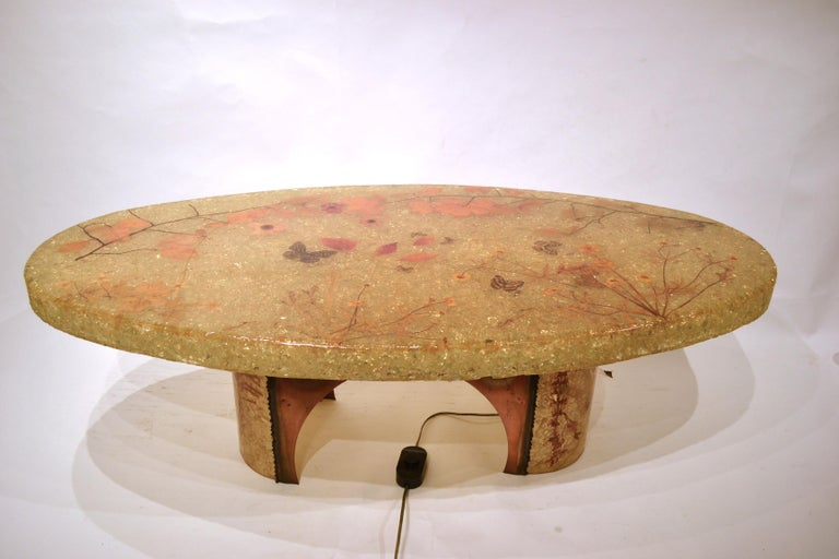 Mid-20th Century Midcentury Illuminated Resin Coffee Table from Accolay, France For Sale