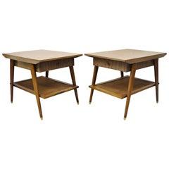 Mid Century Imperial Grand Rapids Atomic Era 2 Tier Laminate End Tables - a Pair