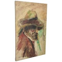 MidCentury Impressionist Elmo GIDEON Original Oil on Canvas Painting Man w/ Hat