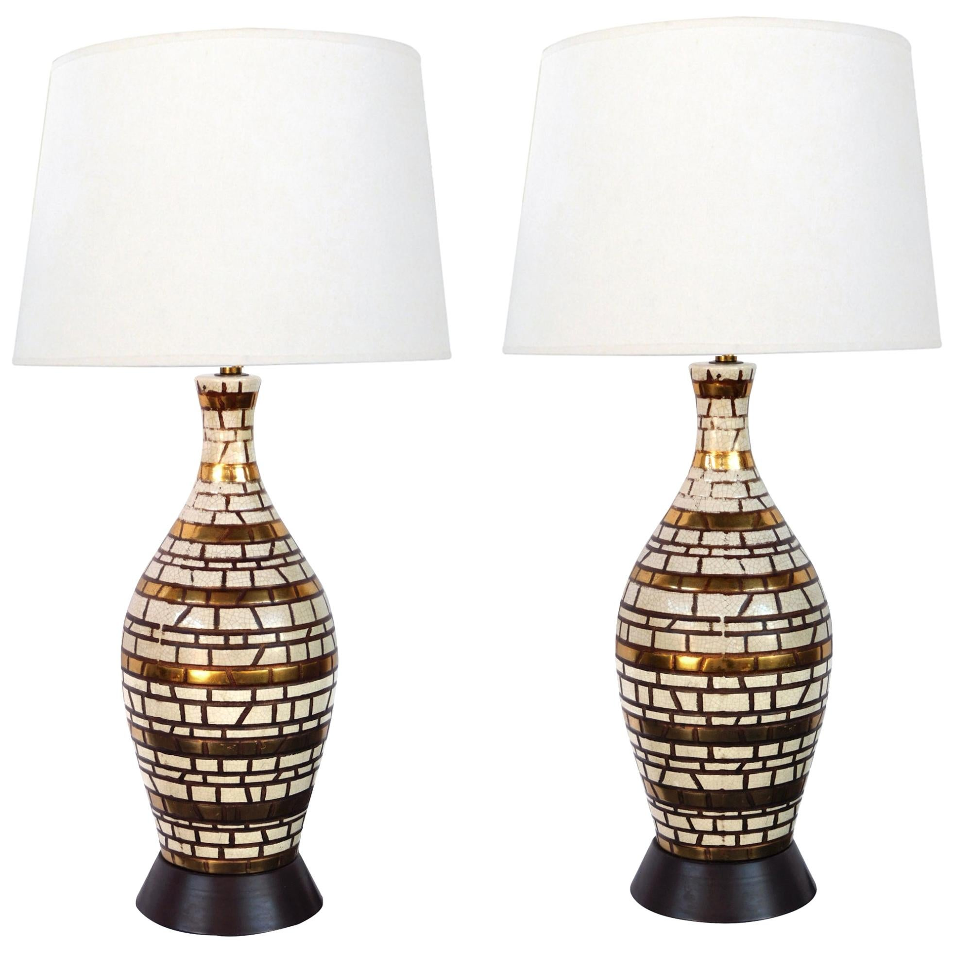 Midcentury Incised Geometric Bottle-Form Lamps with Gilt Highlights