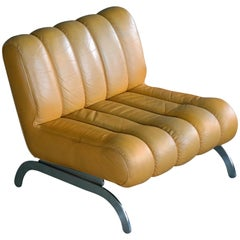 Midcentury Independence Lounge Chair in Mustard Yellow Leather by Karl Wittmann