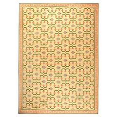 Midcentury Indian Dhurrie Cream, Pink, Olive & Lilac Handwoven Cotton Rug