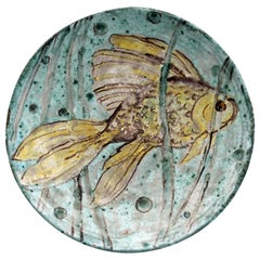 Midcentury Indistinctly Signed Studio Pottery Dish Painted with a Fish