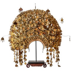 Midcentury Indonesian Brass, and Golden Plated Wedding Crown, Suntiang
