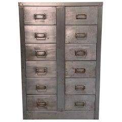 Midcentury Industrial Brushed Steel Office Filing Cabinet