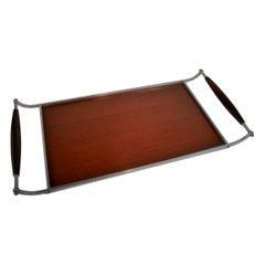 Midcentury Scandinavian  Industrial Design Aluminum and Walnut Serving Tray