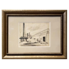 Midcentury Industrial Factory Charcoal Drawing by Tonia Cariffa