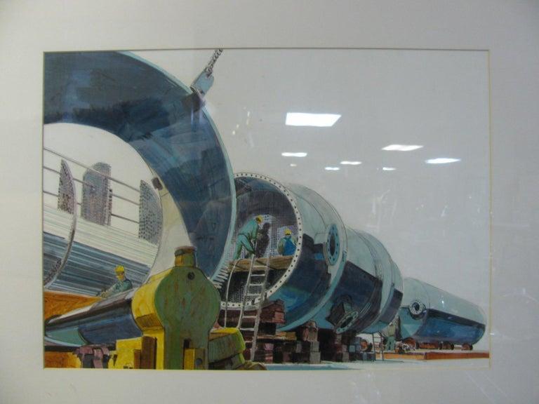 Brushed Midcentury Industrial Factory Illustration For Sale